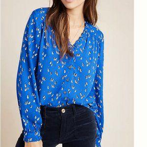 Anthropologie Marisol blue penguin blouse 12, NWT